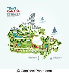carte canada, concept, infographic, toile, pays, voyage, /, layout., forme, graphique, vecteur, illustration, gabarit, repère, conception, navigateur, ou, design.