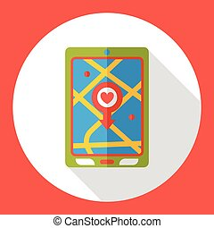 carte, cellphone, plat, média, icon;, social