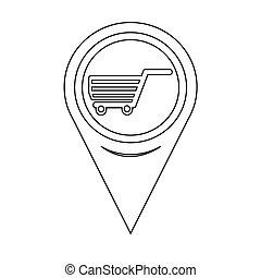 carte, chariot, indicateur, icône