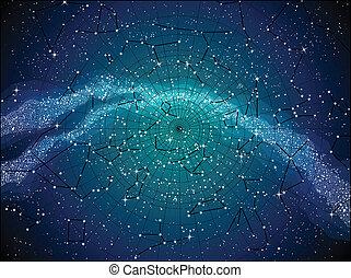 carte, ciel, constellasions