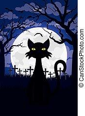 carte, cimetière, heureux, scène halloween, chat