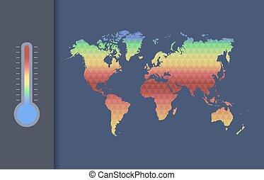 carte, climat, concept., global, vecteur, world., chauffage