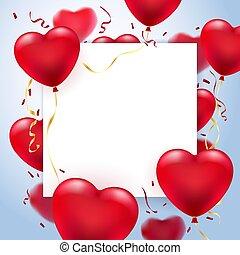 carte, coeur, cadre, ballons, salutation