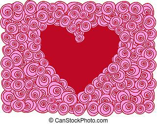 carte, coeur, roses, salutation, rouges