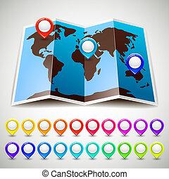 carte, coloré, épingle, indicateurs, emplacement, mondiale