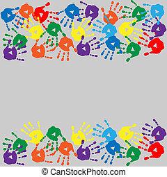 carte, coloré, handprints