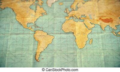 carte, coloré, vendange, sépia, -, zoom, version, vide, mondiale, amérique, sud