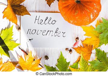 carte, composition, novembre, bonjour, automne