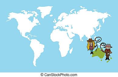 carte, concept, diversité, gens, mondiale, australien