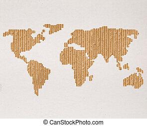carte, concept, global, expédition, mondiale, carton