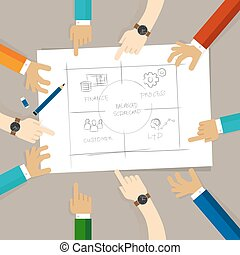 carte, concept, partition, business, drawing., paper., collaboration, diagramme, planification, collaboration, plan, mesure, équilibré, main, dessin, discuter, participation