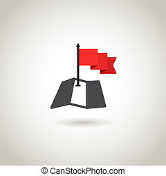 carte, concept, rouges, guidence, flag.