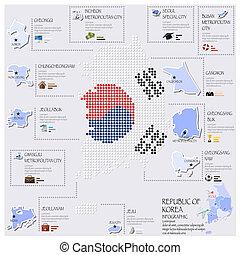 carte, corée, drapeau, infographic, république, conception, point