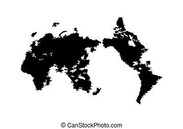 carte, couleur, illustration, vecteur, noir, mondiale