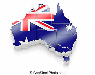 carte, couleurs, drapeau australie, australien