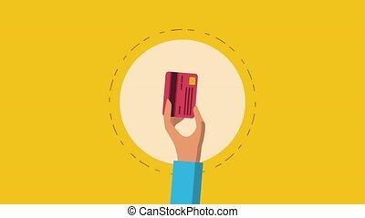 carte, crédit, concept, animation, hd