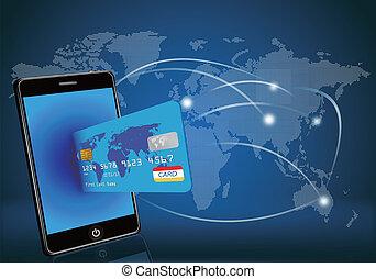 carte, crédit, intelligent, téléphone, glo
