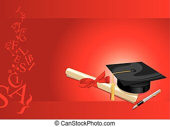 carte, degré, université, salutation, rouges, collège