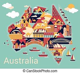carte, dessin animé, australie