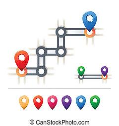 carte, destination, icônes