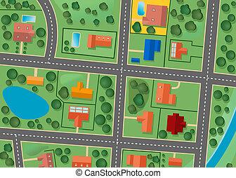carte, district, banlieue