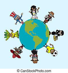 carte, diversité, gens, sur, dessins animés, mondiale