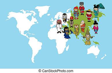 carte, diversité, illustration., gens, dessins animés, asiatique, mondiale