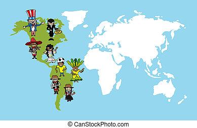 carte, diversité, illustration., gens, dessins animés, mondiale, amérique