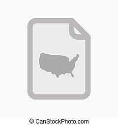 carte, document, usa, isolé