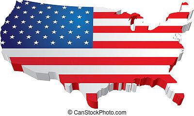 carte, drapeau état, usa, 3d