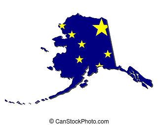 carte, drapeau, alaska