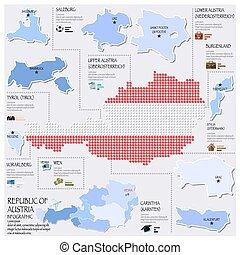 carte, drapeau, autriche, infographic, république, conception, point