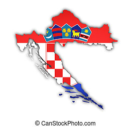 carte, drapeau, croatie