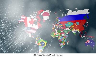 carte, drapeau etats-unis, mondiale, nuage, 3d