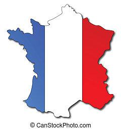 carte, drapeau, france française