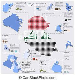 carte, drapeau, infographic, république, conception, irak, point