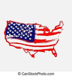 carte, drapeau, intérieur, américain, vecteur, continent, illustration