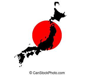 carte, drapeau, japonaise, japon