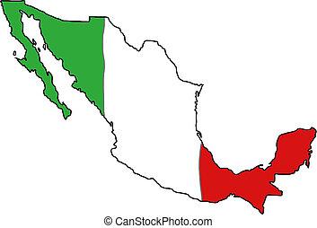carte, drapeau, mexique