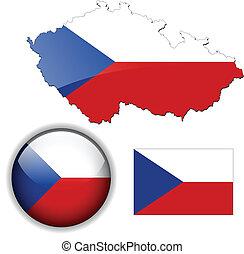 carte, drapeau, république, lustre, tchèque