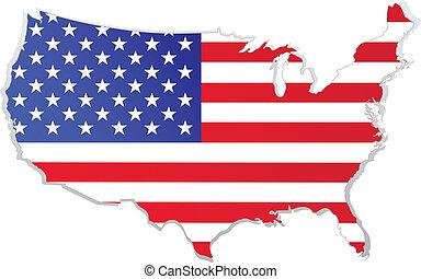 carte, drapeau, usa
