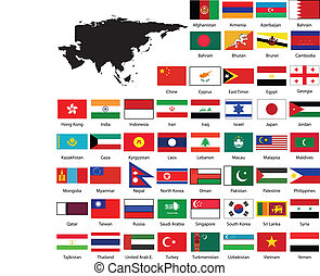 carte, drapeaux, asie