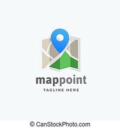 carte, emblème, épinglez point, signe, résumé, moderne, ou, symbole, vecteur, typography., emplacement, logo, template.