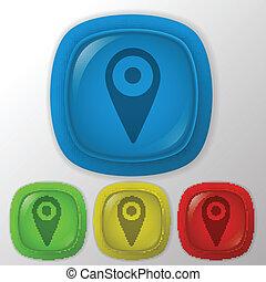 carte, emplacement, épingle