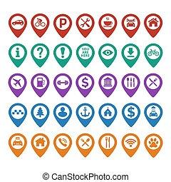 carte, ensemble, épingle, icônes, arrière-plan., emplacement, blanc