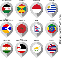 carte, ensemble, -, drapeau, papier, marqueur, quinze