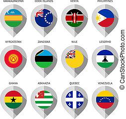 carte, ensemble, -, drapeau, papier, marqueur, seize