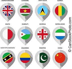 carte, ensemble, -, drapeau, papier, quatrième, marqueur