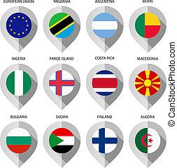 carte, ensemble, -, drapeau, seconde, papier, marqueur