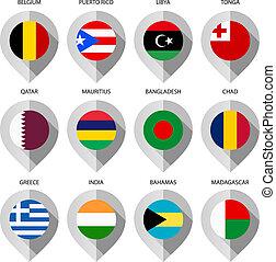 carte, ensemble, -, neuvième, drapeau, papier, marqueur